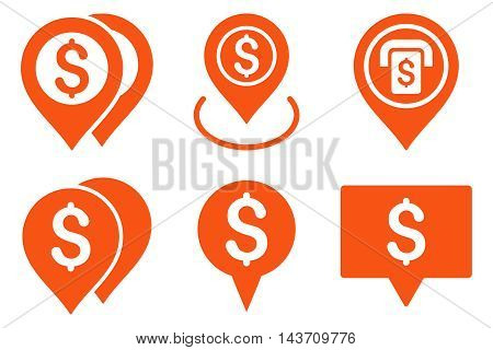 Dollar Map Pointer vector icons. Pictogram style is orange flat icons with rounded angles on a white background.