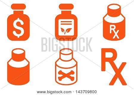 Drugs Vial vector icons. Pictogram style is orange flat icons with rounded angles on a white background.