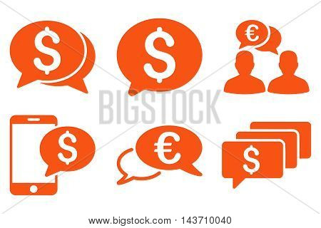 Money Message vector icons. Pictogram style is orange flat icons with rounded angles on a white background.