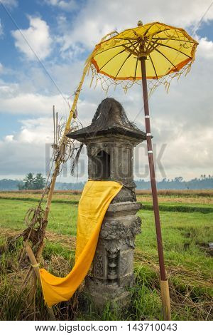 Traditional Balinese house of spirits on rice field, Bali, Indonesia