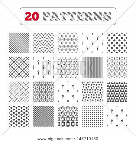 Ornament patterns, diagonal stripes and stars. Torch flame icons. Fire flaming symbols. Hand tool which provides light or heat. Geometric textures. Vector