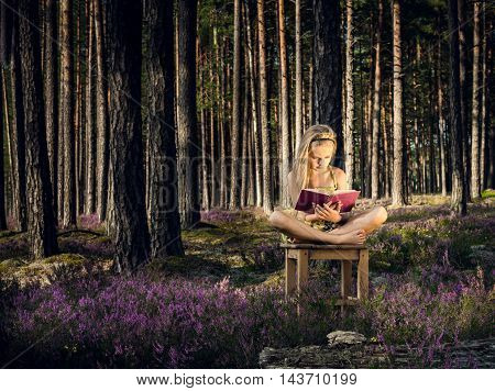 Beautiful blond girl sitting on a chair and reading a book in the forest. Summer.