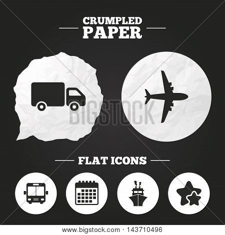 Crumpled paper speech bubble. Transport icons. Truck, Airplane, Public bus and Ship signs. Shipping delivery symbol. Air mail delivery sign. Paper button. Vector