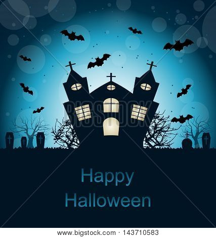Illustration Halloween Abstract Greeting Card with Castle, Bats, Cemetery - Vector