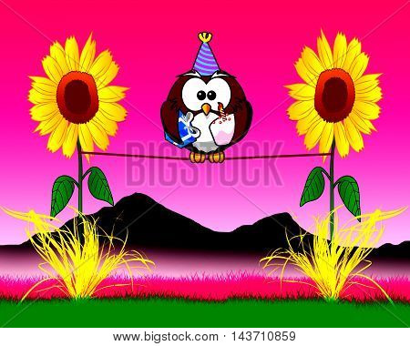The cake baking Owl who loves sunflowers