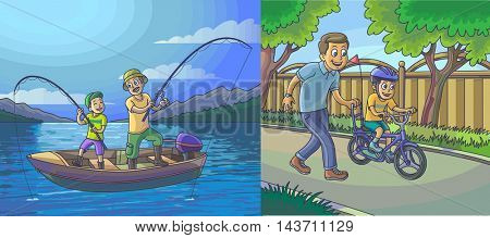 A vector illustration of a father and son going fishing on a boat , father teach his son to ride a bicycle.