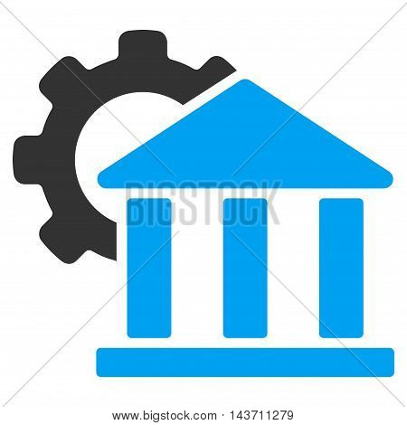 Bank Settings icon. Glyph style is bicolor flat iconic symbol with rounded angles, blue and gray colors, white background.