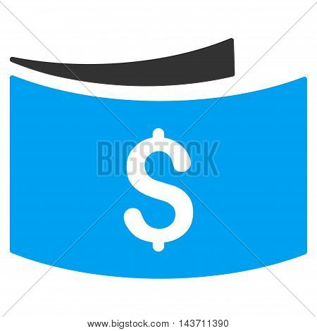 Banknotes icon. Glyph style is bicolor flat iconic symbol with rounded angles, blue and gray colors, white background.