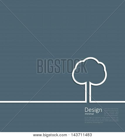 Tree standing alone symbol, design webpage, logo template corporate style layout - vector