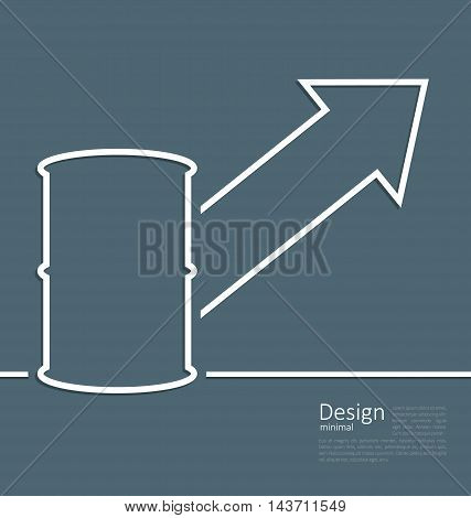 Illustration arrow indicating trend grow cost oil, barrel roll, logo template corporate style - vector