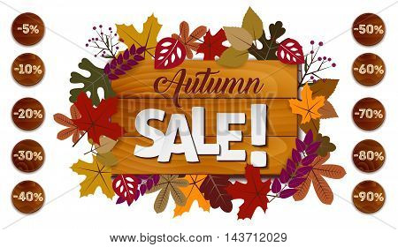 Autumn Sale Concept With Different Size Of Discounts