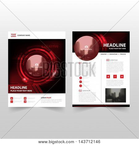Red black technology Vector annual report Leaflet Brochure Flyer template design book cover layout design abstract business presentation template a4 size design