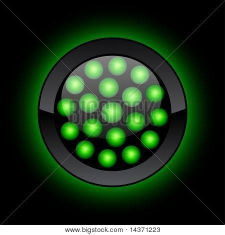 Green LED button. Vector illustration.