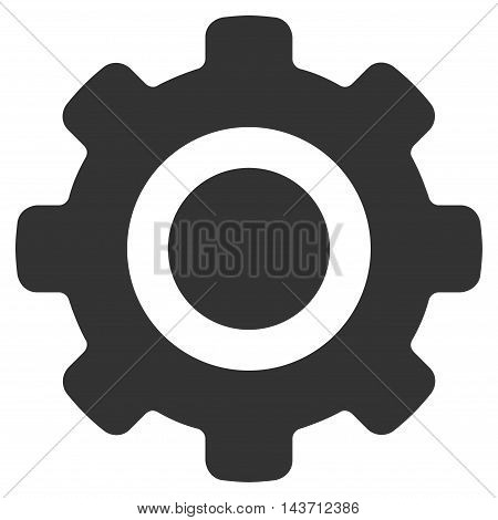 Gear icon. Glyph style is flat iconic symbol with rounded angles, gray color, white background.