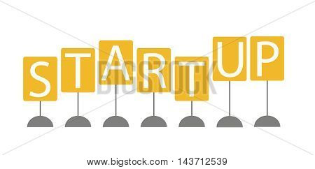 startup sign, startup business on white background