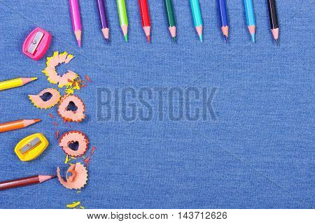 School Supplies On Jeans Background, Back To School Concept, Copy Space For Text