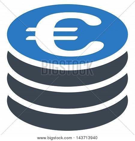 Euro Coin Stack icon. Glyph style is bicolor flat iconic symbol with rounded angles, smooth blue colors, white background.