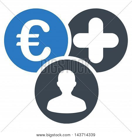 Euro Medical Expences icon. Glyph style is bicolor flat iconic symbol with rounded angles, smooth blue colors, white background.