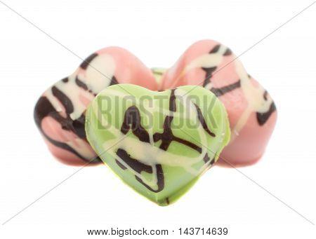 chocolate hearts candies decorative dessert on white