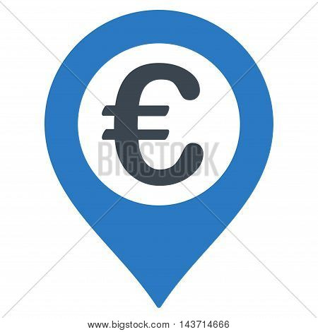 Euro Pushpin icon. Glyph style is bicolor flat iconic symbol with rounded angles, smooth blue colors, white background.