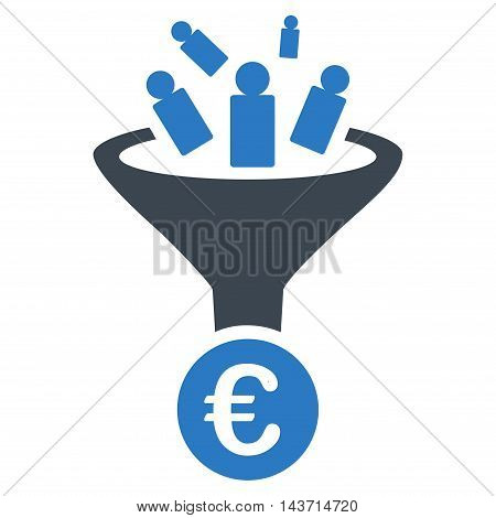 Euro Sale Conversion icon. Glyph style is bicolor flat iconic symbol with rounded angles, smooth blue colors, white background.