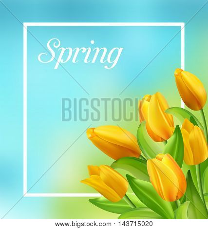 Illustration Spring Natural Frame with Yellow Tulips Flowers - Vector