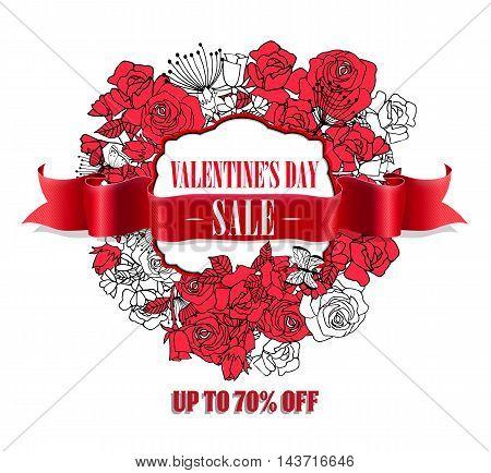 Valentines Day Sale badgeRealistic red vintage ribbon banner.