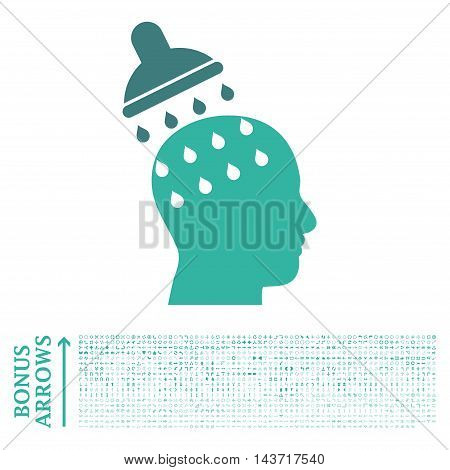 Brain Washing icon with 1200 bonus arrow and navigation pictograms. Vector illustration style is flat iconic bicolor symbols, cobalt and cyan colors, white background.