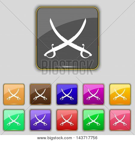 Crossed Saber Icon Sign. Set With Eleven Colored Buttons For Your Site. Vector