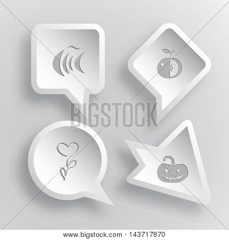 4 images: fish, apple, flower, pumpkin. Nature set. Paper stickers. Vector illustration icons.