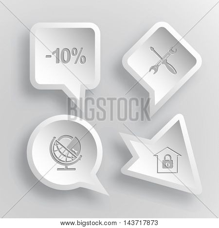 4 images: -10%, screwdriver and spanner, globe and lock, bank. Business set. Paper stickers. Vector illustration icons.