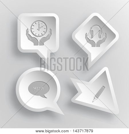 4 images: clock in hands, headphones in hands, chat symbol, felt pen. Education set. Paper stickers. Vector illustration icons.