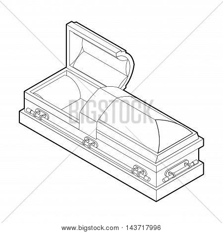 Open Coffin In Linear Style. Wooden Casket For Burial. Red Hearse. Religious Illustration