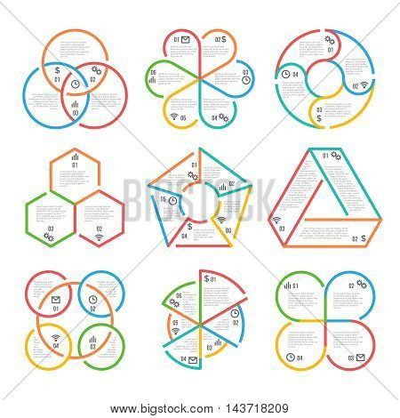 Color thick line circle, triangular, hexagonal, pentagonal infographics business outline charts diagrams graphs templates. Set of colored banner with information. Vector illustration