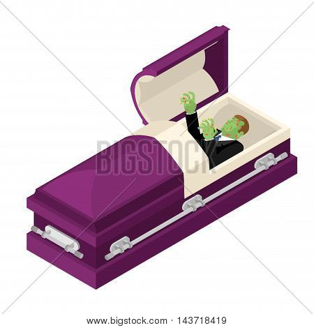 Zombie In Coffin. Green Dead Man Lying In Wooden Casket. Corpse In An Open Hearse For Burial. Deceas