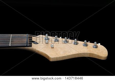 Electric Guitar Headstock Isolated On Black