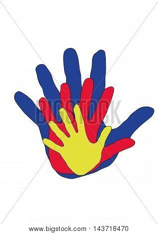 Семья руки ладони пальцы цвета добро вместе радость
