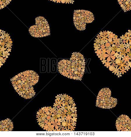 Vector seamless pattern background made of golden hearts.