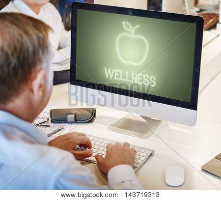 Wellness Food Computer Healthcare Concept