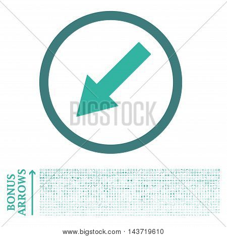 Down-Left Rounded Arrow icon with 1200 bonus arrow and navigation pictograms. Vector illustration style is flat iconic bicolor symbols, cobalt and cyan colors, white background.