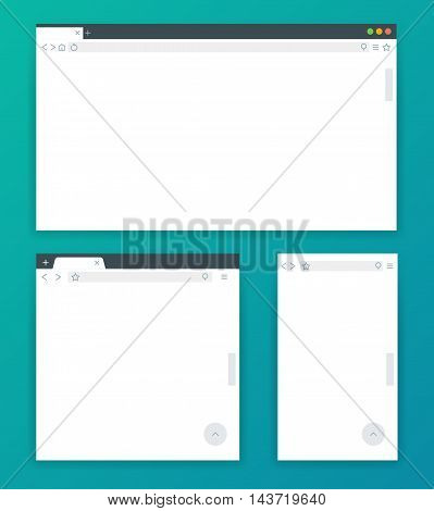 Blank browser windows for devices of computer, tablet, and phone. Templates for adaptive responsive web design. Vector illustration