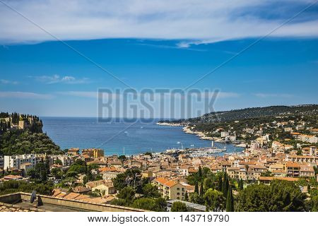 The resort town of Cassis and National Park Calanques on the Mediterranean coast