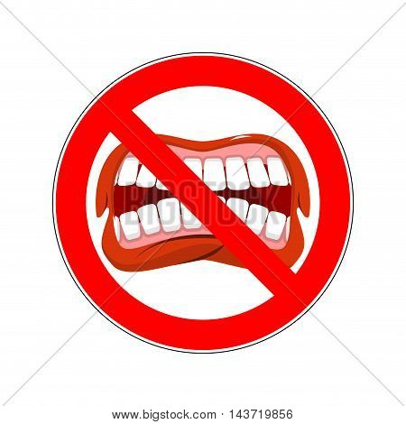 Ban Cry. It Is Forbidden To Shout And Swear. Crossed-open Mouth. Emblem Against Aggression. Red Proh