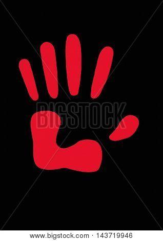 отпечаток, рука, пальцы,красный, контур, черный фон, пятерня, флаг