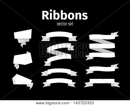 White ribbons on the black background vector set