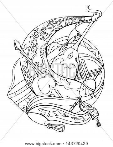 Template coloring for adults with Kazakh national instruments and patterns. Illustration for your creativity
