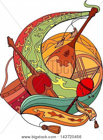 Abstract illustration of Kazakh national instruments with ornaments. Vector element for cards stickers and your design
