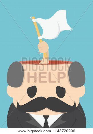 Illustration Concept SurrenderHelprWhite flag vector eps .10 Illustration
