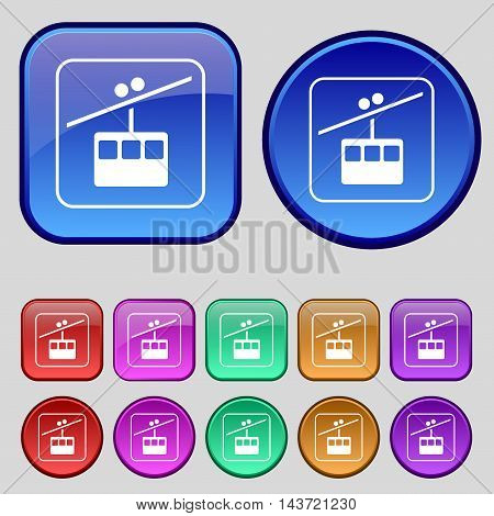 Cable Car Line Icon Sign. A Set Of Twelve Vintage Buttons For Your Design. Vector