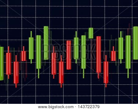 3D Rendering Of Forex Index Candlestick Chart Over Dark